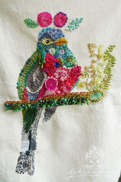 embroidery,stitch,mixed media,bird