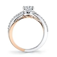 Tie A Little Knot 14K Two-Tone Diamond Engagement Ring Setting 1/8 Cttw