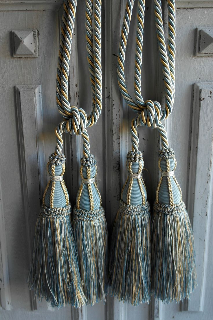 Vintage curtain tieback tassels a pair of Pompom French