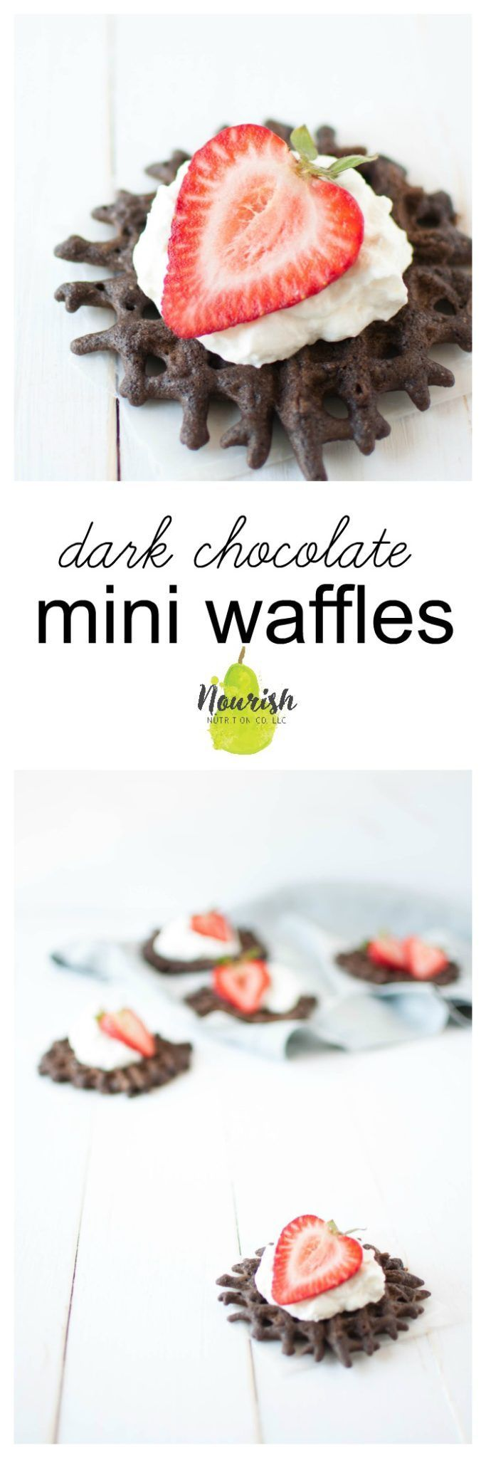 These dark chocolate mini waffles are a quick and delicious dessert or breakfast. They're made with whole grains and not much added sugar. #waffles #chocolate