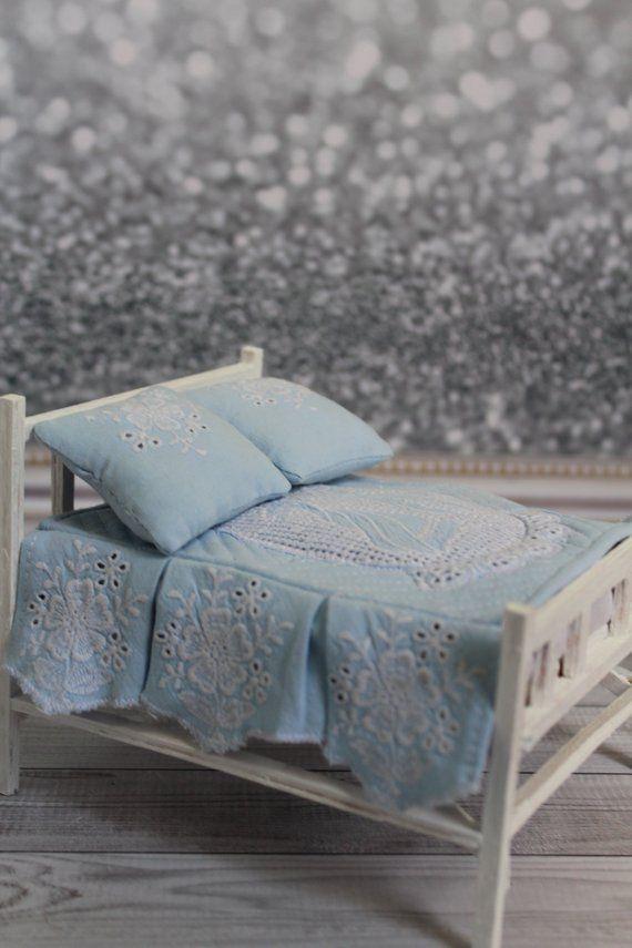112 Scale Dollhouse Bed Cover Set Blue Bedroom Set Bedspread for