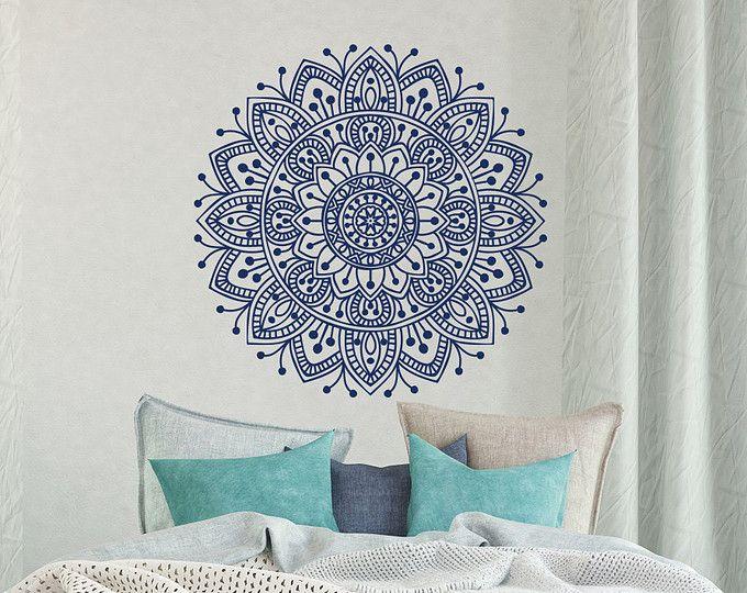 Mandala Wall Decal Bedroom- Mandala Vinyl Wall Decal Boho Bohemian Morrocan Bedroom Decor- Indian Mandala Wall Art Yoga Studio Decor #41