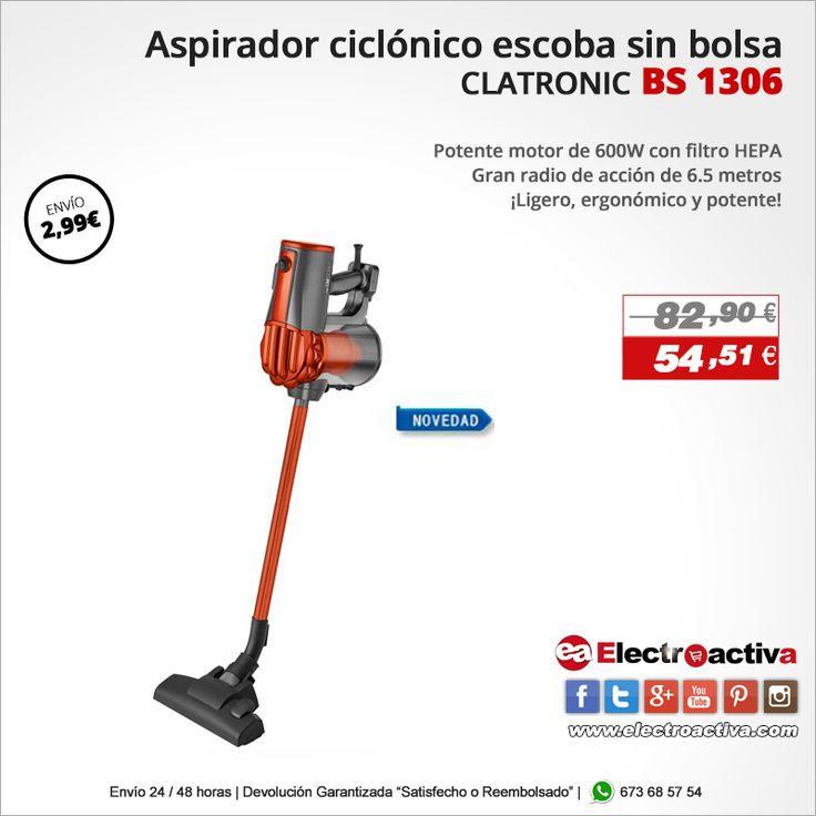 ¡Ligero, ergonómico y potente!  Aspirador Ciclonico CLATRONIC BS 1306 http://www.electroactiva.com/clatronic-bs-1306-aspirador-escoba-sin-bolsa-mano-600w-color-naranja.html #Elmejorprecio #Aspirador #Chollo #Electrodomestico #PymesUnidas
