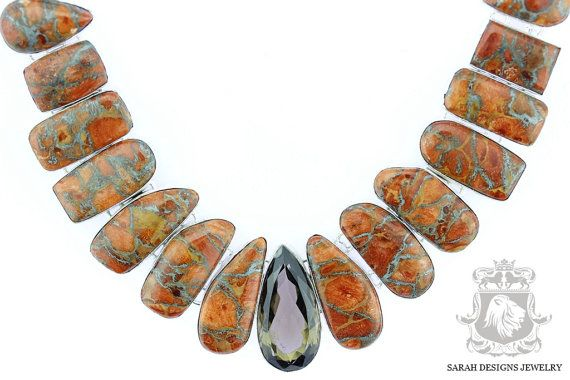 Orange Pyrite TURQUOISE Smokey Topaz 925 SOLID Sterling Silver Necklace & FREE Worldwide Shipping