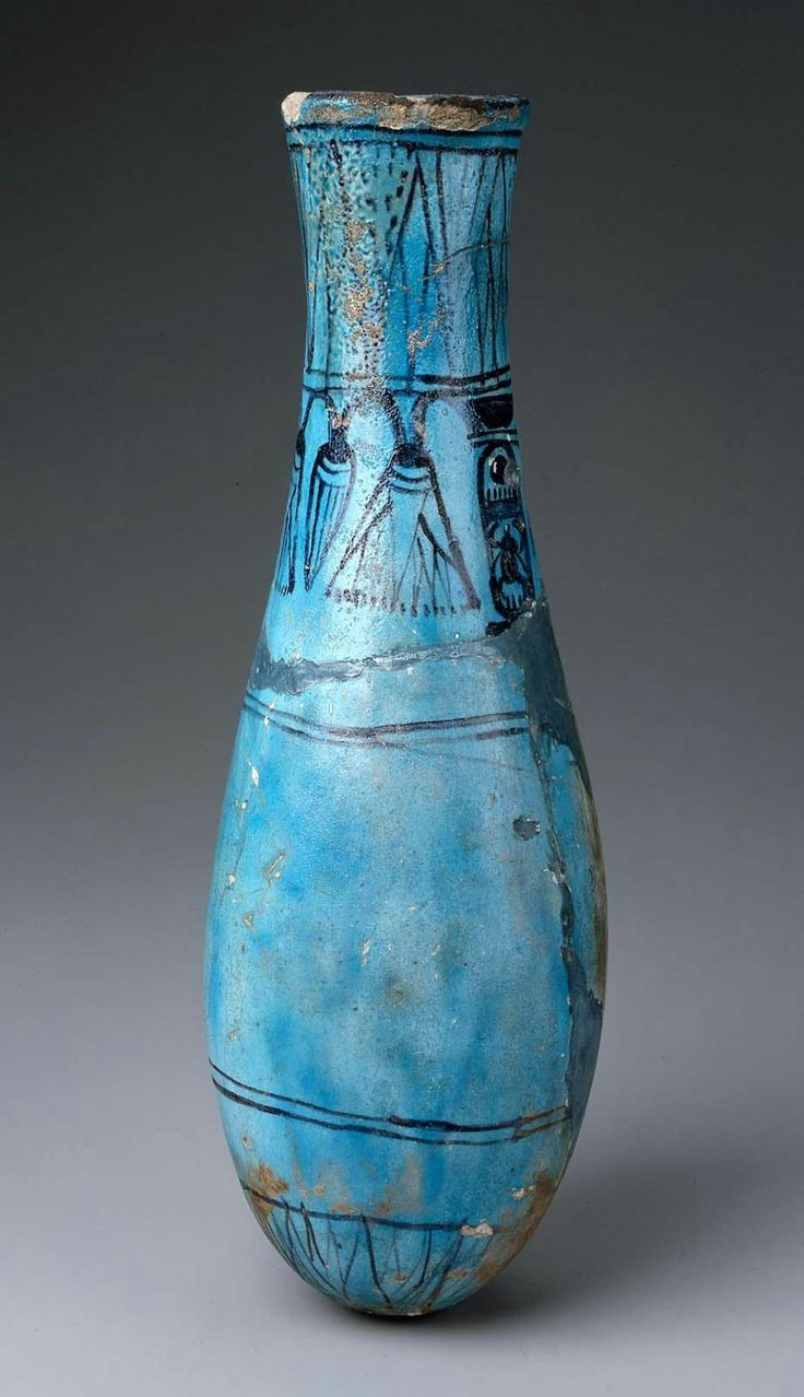 Egyptian, New Kingdom, Dynasty 18, reign of Thutmose IV, 1400–1390 B.C.http://educators.mfa.org/ancient-egypt-183923?view=slideshow#1 Tall, bag-shaped jay with flaring rim; black painted lines and borders of lotus buds and flowers on neck and base as well as cartouche of Thutmose IV; mended.