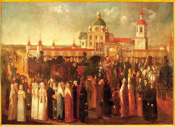 Я.М. Колокольников-Воронин. Отъезд императора Александра I из Осташкова. Осташковский музей