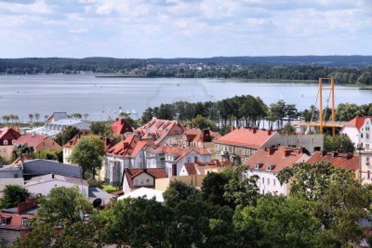 Gizycko, Poland - townscape with lake Niegocin. Lake region Masuria.