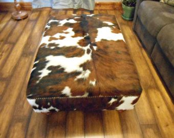 Genuine Cow Hide Cowhide Ottoman Footstool Bench by FurnitureLegs
