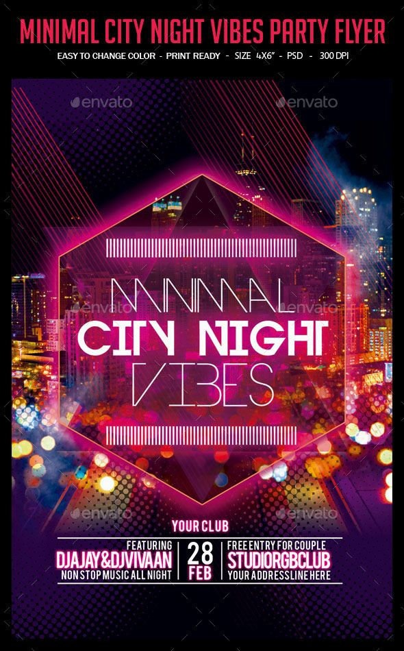 Minimal City Night Vibes Party Flyer This is a unique and good - party flyer
