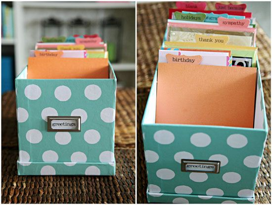 Greeting Card Organization Tutorial...great reminder I need to do this, I love how she made her dividers!