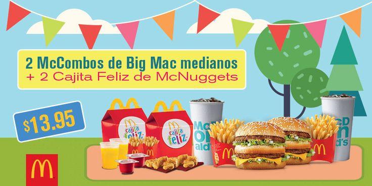 Válido del 14/07/2017 al 16/07/2017. Presenta este cupón en McDonald´s y llevate 2 McCombos de Big Mac + 2 Cajita Feliz de McNuggets por $13.95.