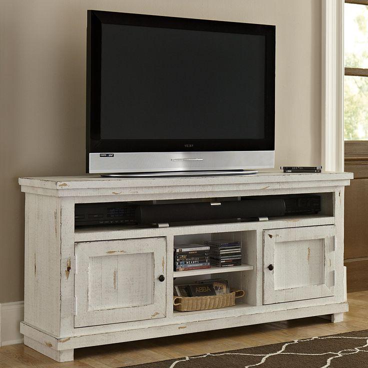 Progressive Furniture Willow Medium 64 Distressed Pine Media Console Wayside Furniture Tv