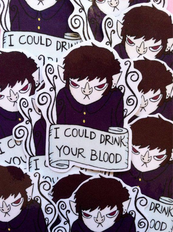 Little Vampire Kid Sticker I could drink your by sleepyanimal