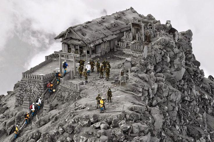 Google+ Shrine near summit of Mt Ontake volcano eruption last week by Nicodin Bogdan