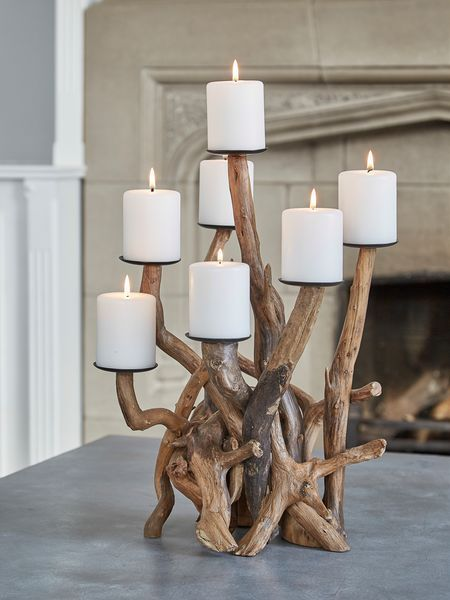 This beautiful driftwood candelabra will not only enchant everyone but is the perfect size for creating a dramatic table centrepiece.