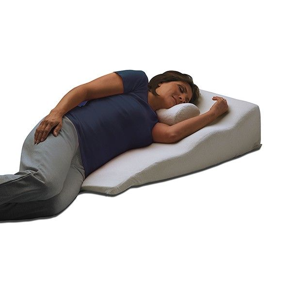 AL5514. Sleeping with the ContourSleep Side Sleeper Bed Wedge can help people who suffer from allergies or acid reflux, shoulder replacement patients or anyone who prefers a good night's sleep on their side. The 1/2'' memory foam on top supports your weight comfortably and luxuriously.When paired with a small cervical pillow (not included), it can help properly support the neck and provide proper alignment while sleeping. Note: cervical pillow not included with back wedge, sold separately.