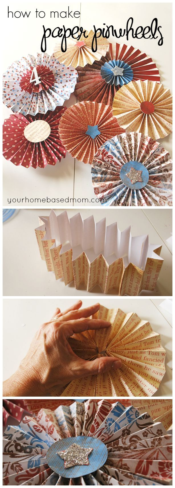 "paper pinwheels Cut a slit at all four corners towards center, leaving 1"" between slit and center  fold every other corner to the center and glue down tip tip: to make your paper."
