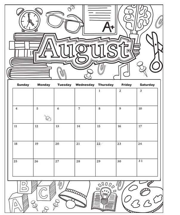 picture about Printable Coloring Calendar named August Printable Coloring Calendar 2019. #august #calendar