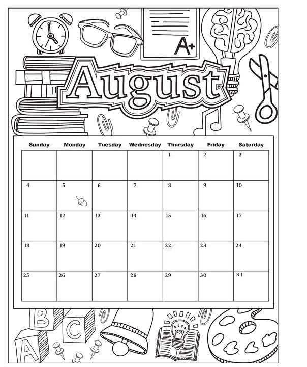 August Printable Coloring Calendar 2019 August Calendar
