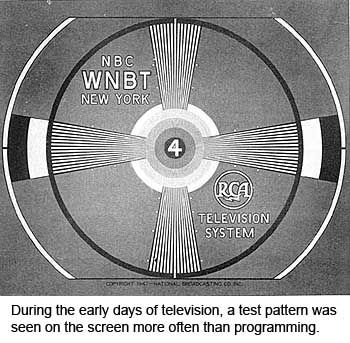"""""""During the early days of television, a test pattern was seen on the screen more often than programming."""""""