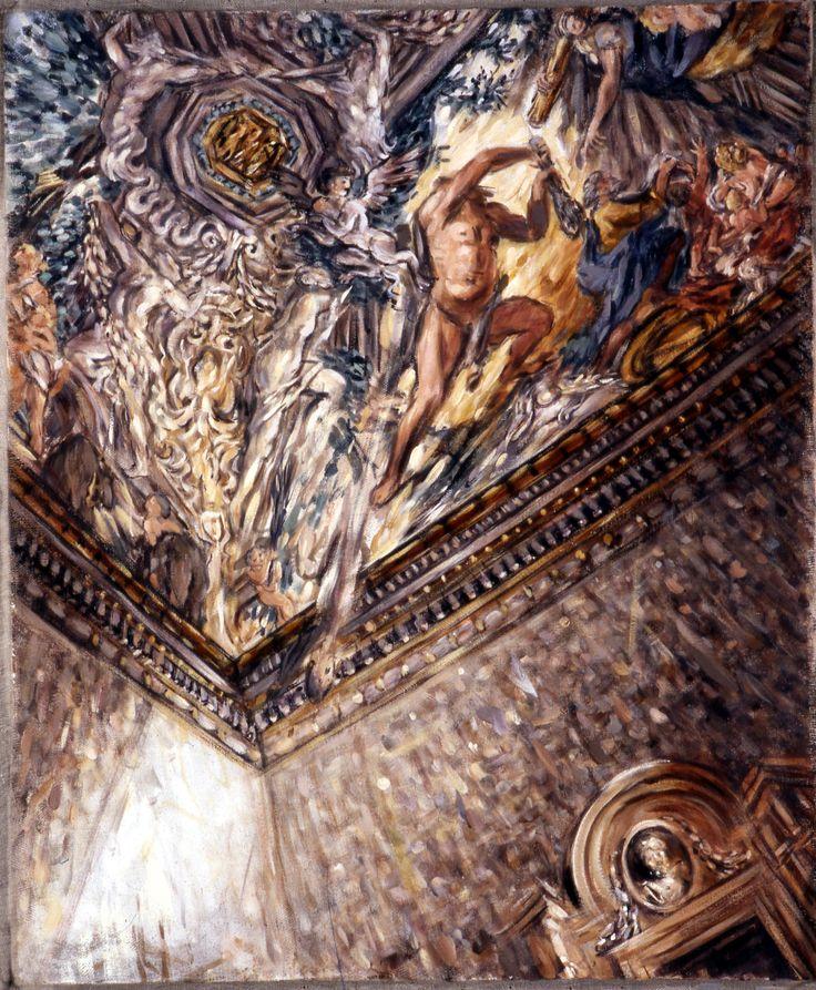 Palais Barberini, Salon de Pierre de cortone, vue gragmentaire du plafond, avec Hercule; 80x65 cm; tempéra sur toile; 2003; collection privée, Italie