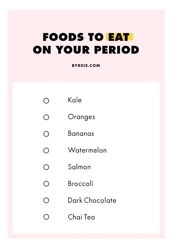 Foods to Eat (and Avoid) on Your Period via @ByrdieBeautyAU