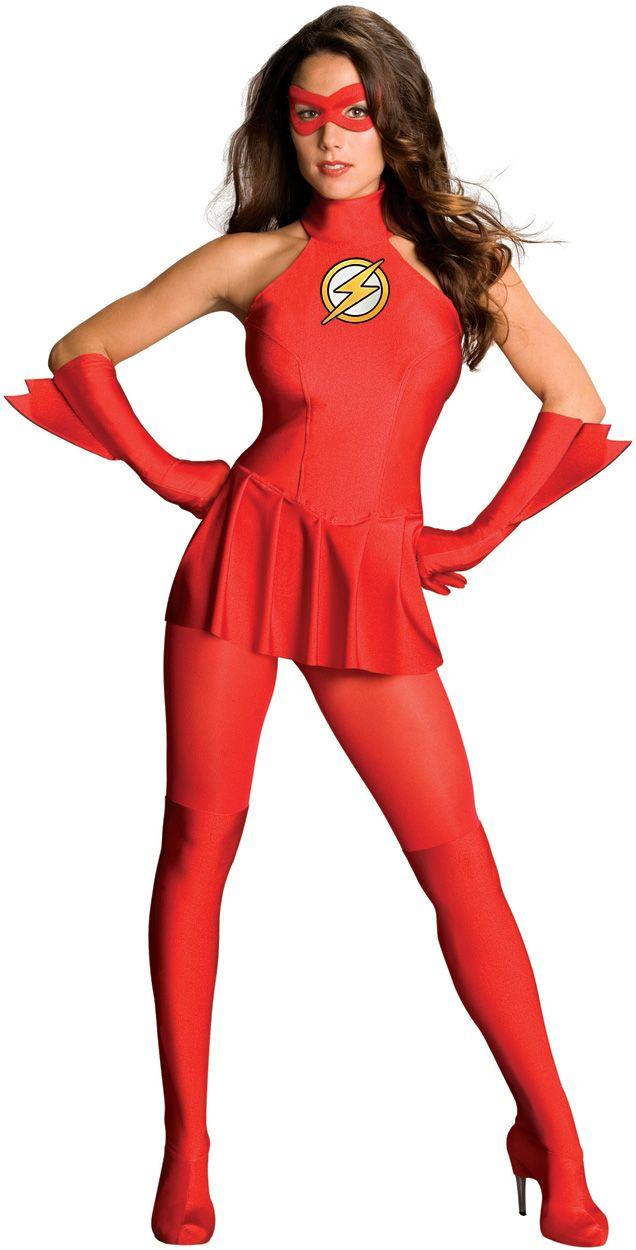 Déguisement Flash™ femme  : Ce déguisement de luxe du super héros Flash™ sous licence officielle se compose d'une robe, des gants, du loup , des collants et des couvre-bottes (Chaussures non inclus)....
