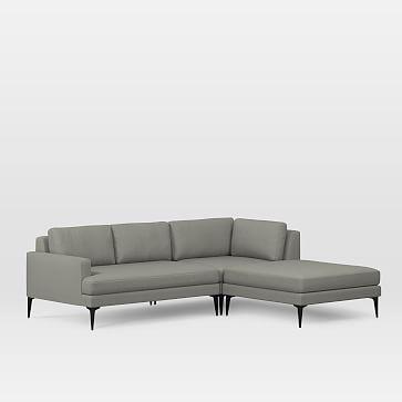 Andes Set 5: Left 2 Seater Sofa, Corner, Ottoman, Performance Tweed, Flannel, Dark Pewter