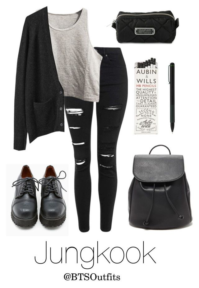 """""""School with Jungkook"""" by btsoutfits ❤ liked on Polyvore featuring Topshop, La Garçonne Moderne, Sixtyseven, Forever 21, IDEA International and Marc by Marc Jacobs"""