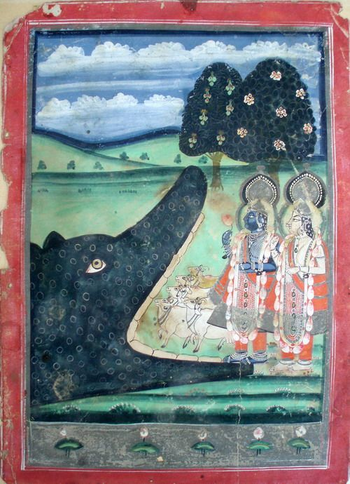 Nathdwara, Rajasthan. Bhagavata Purana illustration showing the snake-demon Aghasura & Krishna with Balarama. Gouache & silver. Circa late 18th/early 19th century.