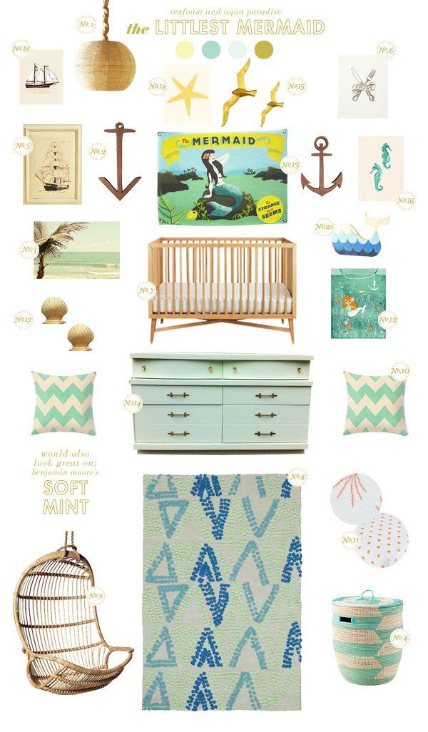 mermaid baby nursery inspiration board - seafoam and aqua paradise.