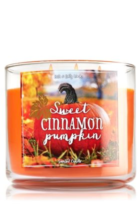 "Sweet Cinnamon Pumpkin - 3-Wick Candle - Bath & Body Works - The Perfect 3-Wick Candle! Made using the highest concentration of fragrance oils, an exclusive blend of vegetable wax and wicks that won't burn out, our candles melt consistently & evenly, radiating enough fragrance to fill an entire room. Topped with a flame-extinguishing lid! Burns approximately 25 - 45 hours and measures 4"" wide x 3 1/2"" tall."