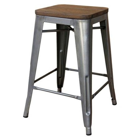 """Threshold™ Hampden Industrial 24"""" Counter Stool with Wood Top (Set of 2)"""