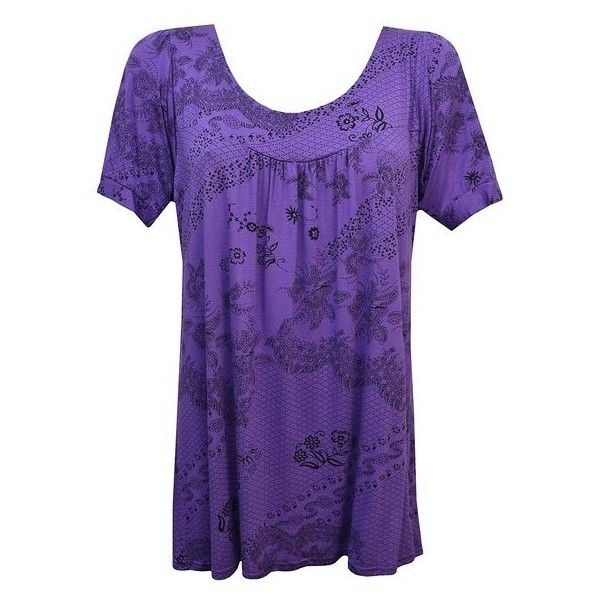 New ladies print smock top tunic ladies top Size... (120 NOK) ❤ liked on Polyvore featuring tops, tunics, smocked tunic, purple top, pattern tops, print tops and smocked top
