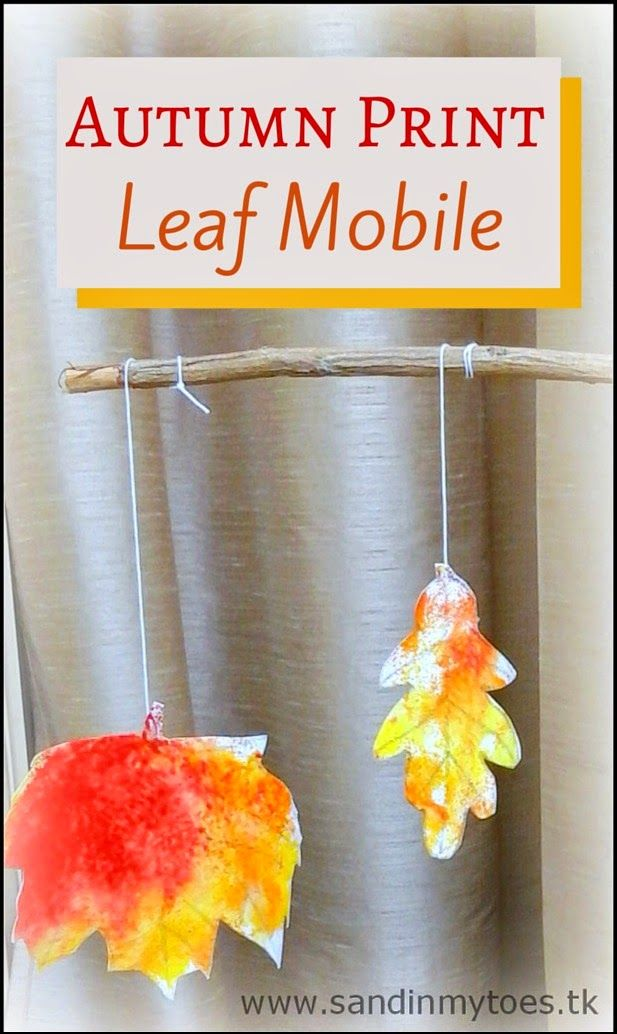 Bring autumn into your home with this Autumn Print Leaf Mobile!   #craftsforkids #autumncrafts #fall