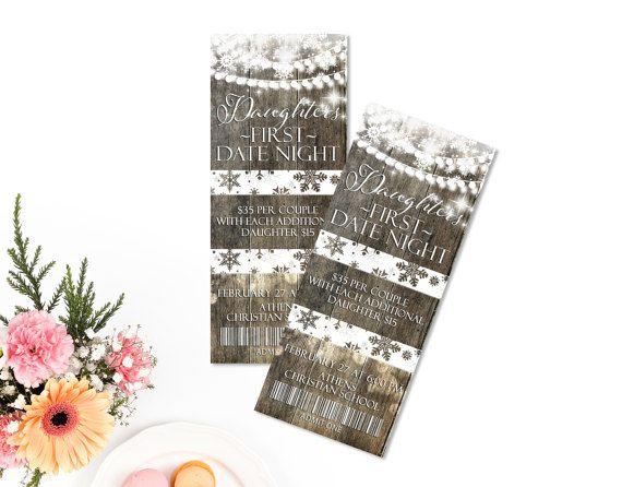 Daddy daughter dance ticket. Ticket Invitation Rustic Winter Invite. Winter wonderland party invitaiton.