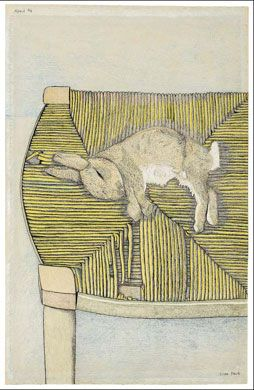 Lucien Freud, Rabbit on Chair, 1944.