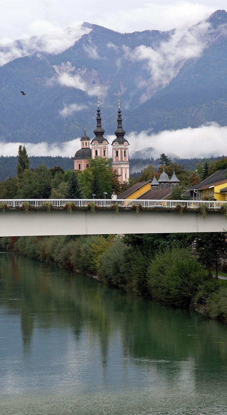 """Baroque"" Heiligenkreuz Church over the Drava River, Villach, Austria"