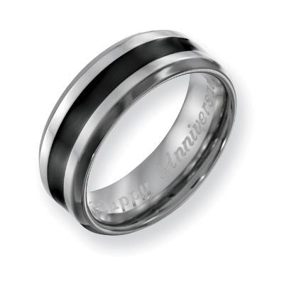 Unique Men us mm Engraved Titanium with Black Enamel Inlay Wedding Band Characters