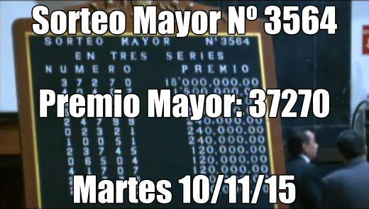 Sorteo Mayor Nº 3564 del martes 10/11/15. Ver lista oficial de premio: http://wwwelcafedeoscar.blogspot.com/2015/11/sorteo-mayor-n-3564-del-martes-10-11-2015.html