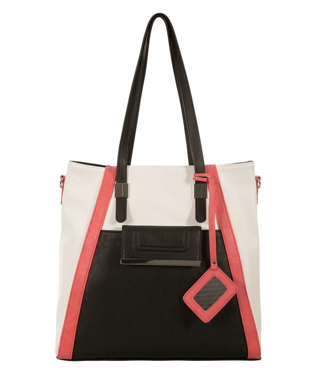 Colour Block Tote Bag, Light Coral/Black/Milkshake #loverickis #rickisfashion #rickis #instantoutfit #instantOOTD #spring #spring2017 #springfashion