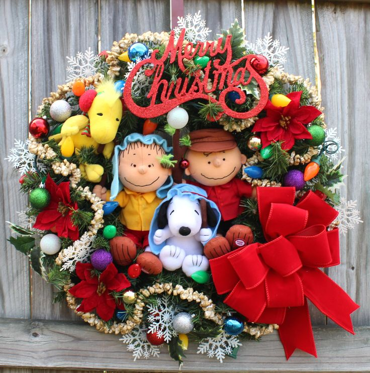 made to order charlie brown christmas wreath woodstock shepherd linus snoopy deluxe peanuts gang holiday wreath pre lit velvet bow - Charlie Brown Christmas Decorations