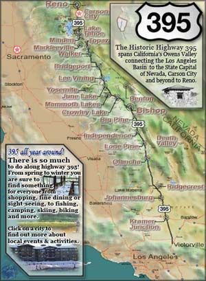 Map of Highway 395 My favorite spot in California!!