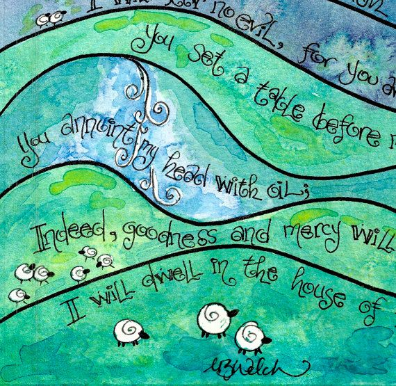 Psalm 23 Whimsical Scripture Art Print of by DovetailInk on Etsy