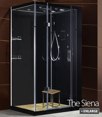 The Siena, a gorgeous black steam shower unit from Di Vapor. More