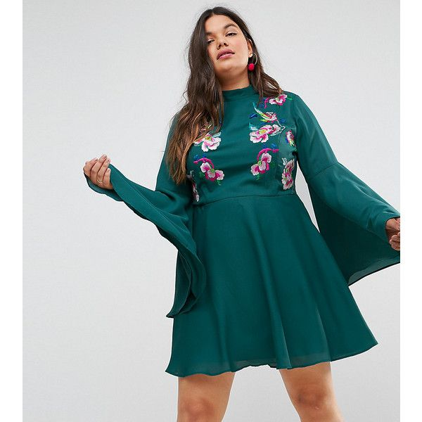 ASOS CURVE Embroidered Trumpet Sleeve Mini Dress ($30) ❤ liked on Polyvore featuring plus size women's fashion, plus size clothing, plus size dresses, green, plus size, long-sleeve mini dresses, blue dress, short dresses, plus size mini dresses and blue fit-and-flare dresses