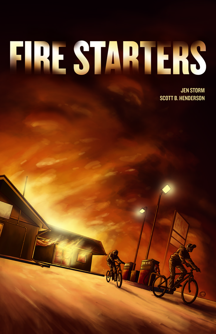 """Fire Starters"". Written by Jen Storm, Illustrated by Scott B. Henderson, and coloured by Donovan Yaciuk (Donovan has since been added to the cover credits). Looking for a little mischief after discovering an old flare gun, Ron and Ben find themselves in trouble when the local gas bar on Agamiing Reserve goes up in flames, and they are wrongly accused of arson by the sheriff's son. As the investigation goes forward, community attitudes are revealed, and the truth slowly comes to light."