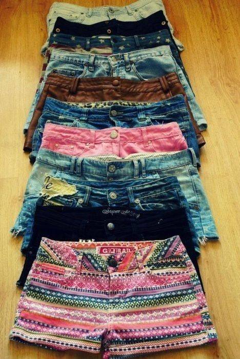 make your own shorts by cutting off your own pair of old jeans. Then use bleach or dyes or clothing stamps/jewlery to make it look awesome!!!
