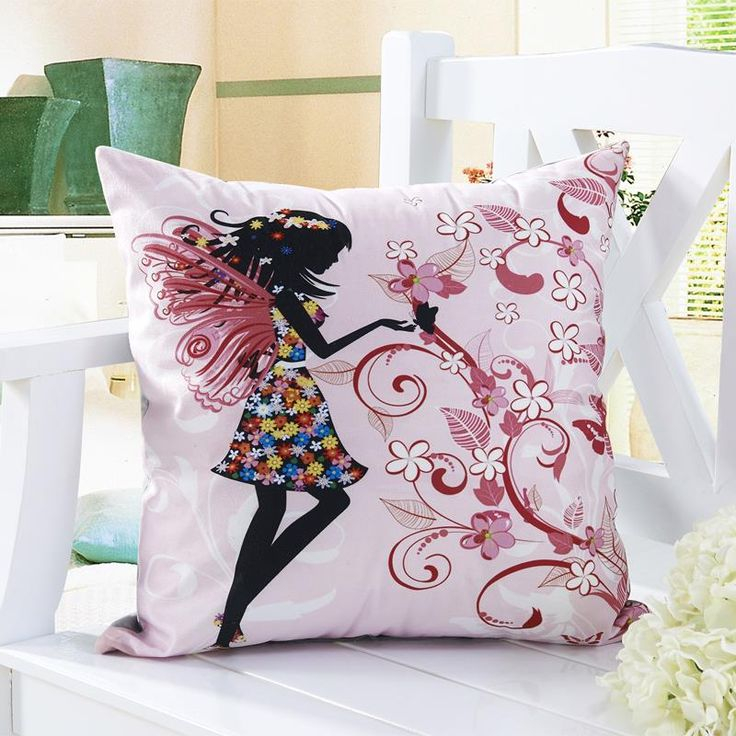 Rubi decorative throw pillows cushions without insert digital printing flower fairy bike butterfly | worth buying on AliExpress