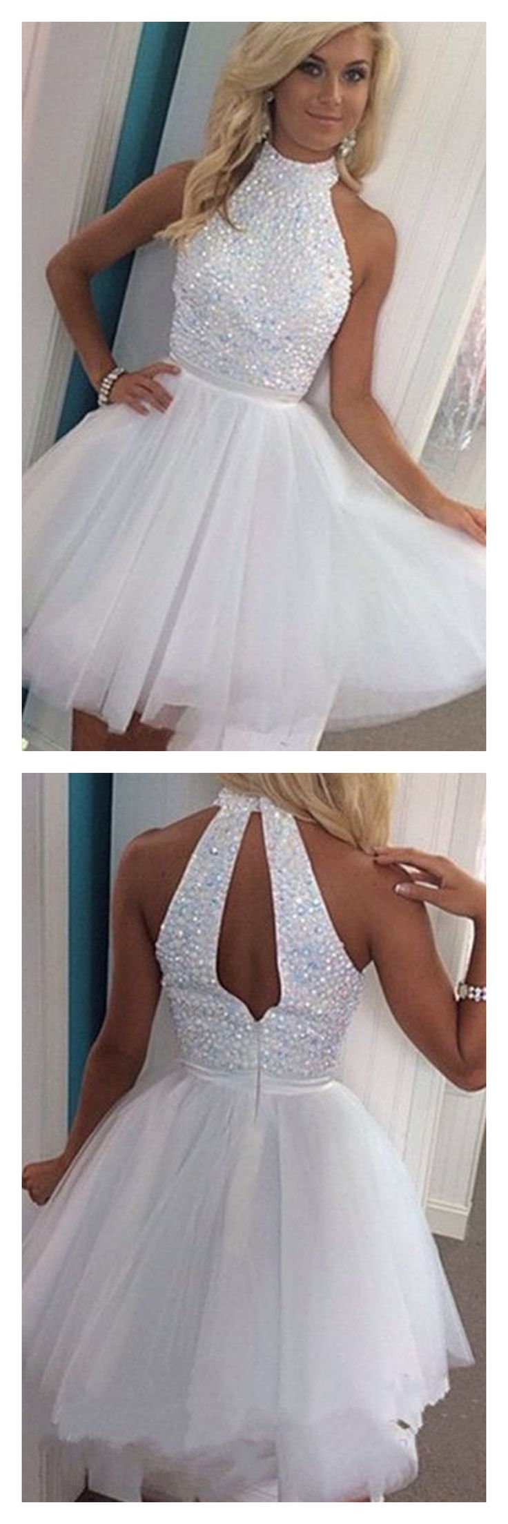 2017 white homecoming dresses, open back halter party dresses, beading short prom dresses graduation dresses #SIMIBridal